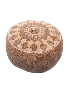 Marokkanisches Sitzkissen Leder Poufs natur ø 50cm