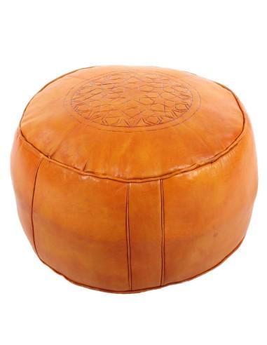 Marokkanisches Sitzkissen Leder Tabaa orange ø 50cm