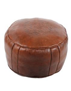 Marokkanisches Sitzkissen Leder Tabaa braun ø 50cm