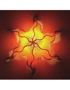 Marokkanische Leder Wandlampe Stern Masur orange