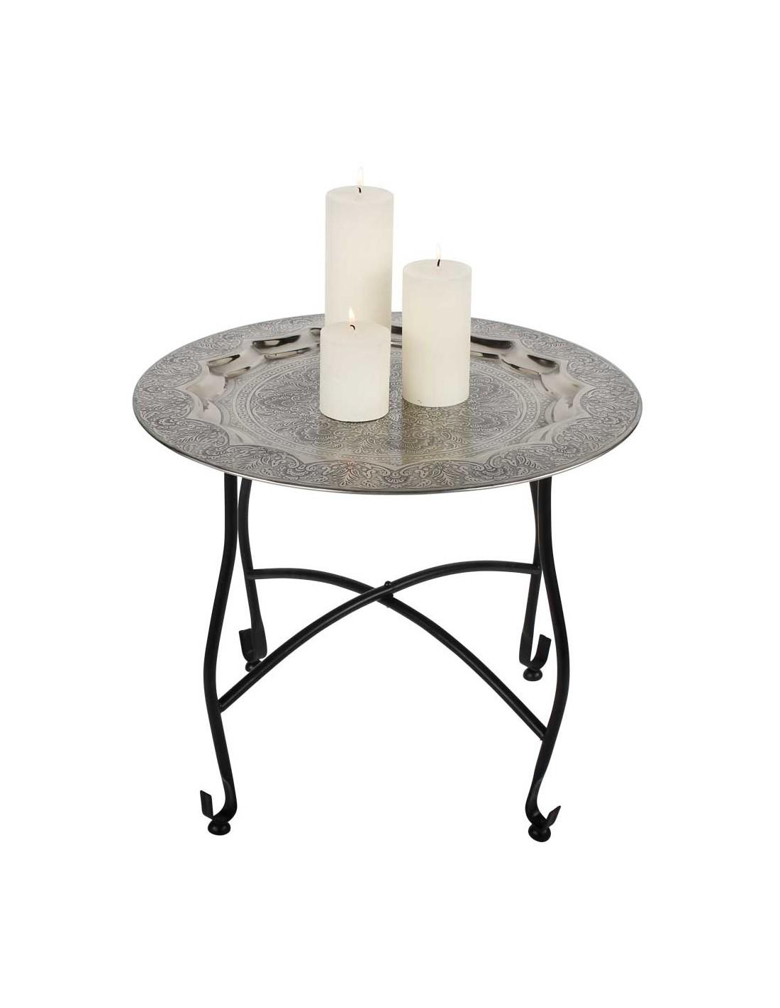 orientalischer beistelltisch mit tablett aus metall. Black Bedroom Furniture Sets. Home Design Ideas