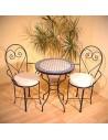 Marokkanischer Mosaiktisch Issma 60 cm mit Stühlen