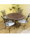 Marokkanischer Mosaiktisch Renak 120 cm mit Stühlen