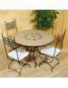 Marokkanischer Mosaiktisch Jebon 120 cm mit Stühlen