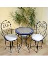 Marokkanischer Mosaiktisch Ebau 60 cm mit Stühlen