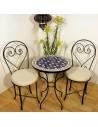 Marokkanischer Mosaiktisch Maar blau 60 cm mit Stühlen
