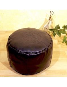 Marokkanisches Sitzkissen Leder Tabaa schwarz ø 50cm