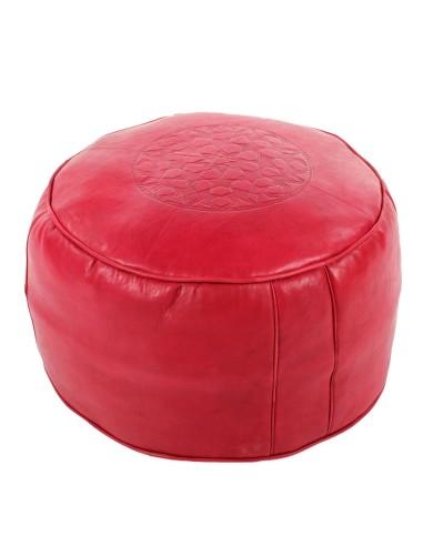 Marokkanisches Sitzkissen Leder Tabaa rot ø 50cm