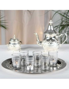 6 orientalische Teegläser/Windlichtgläser Kana silber