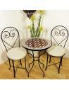 Marokkanischer Mosaiktisch Maar rot 60 cm mit Stühlen