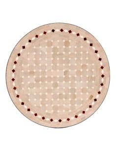 Mosaik Tischplatte ø60cm Yena natur/weiss/rot