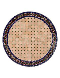 Mosaik Tischplatte ø60cm Jamal natur/blau/grün/rot