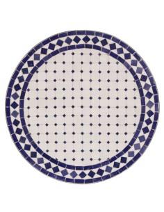 Mosaik Tischplatte ø60cm Issma weiss/blau