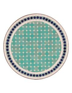 Mosaik Tischplatte ø60cm Fero türkis/weiss/dunkelblau