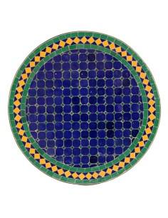 Mosaik Tischplatte ø60cm Fareo dunkelblau/grün/gelb