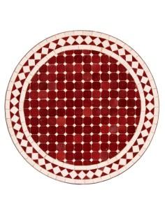 Mosaik Tischplatte ø60cm Susat rot/weiss
