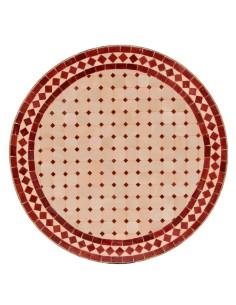 Mosaik Tischplatte ø60cm Eron natur/rot