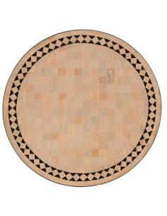 Mosaik Tischplatte ø60cm Yasier natur/schwarz