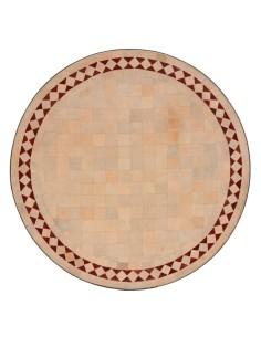 Mosaik Tischplatte ø60cm Yasier natur/rot