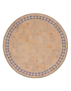 Mosaik Tischplatte ø60cm Yasier natur/aqua