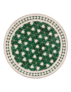 Mosaik Tischplatte ø60cm Maar grün/weiss Sterne