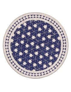 Mosaik Tischplatte ø60cm Maar blau/weiss Sterne