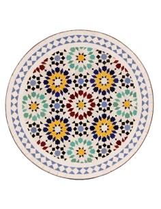 Mosaik Tischplatte ø60cm Lisu weiss/bunt