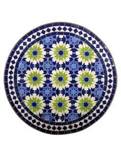 Mosaik Tischplatte ø60cm Iras blau/beige/grün