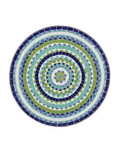 Mosaik Tischplatte ø60cm Hiawa blau/weiss/türkis/grün