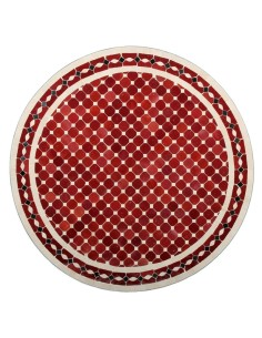 Mosaik Tischplatte ø80cm Renak rot/natur/schwarz