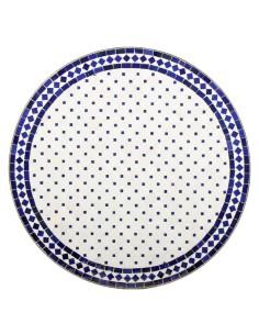 Mosaik Tischplatte ø80cm Issma weiss/blau