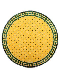 Mosaik Tischplatte ø80cm Anuk gelb/grün