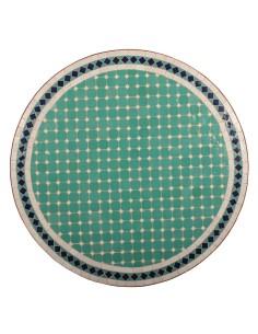 Mosaik Tischplatte ø80cm Fero türkis/weiss/dunkelblau