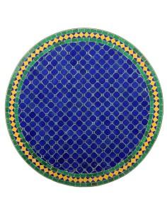 Mosaik Tischplatte ø80cm Fareo dunkelblau/grün/gelb