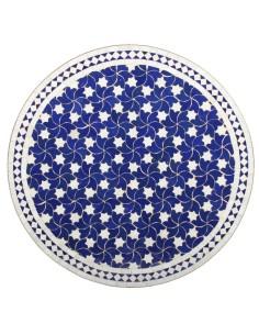 Mosaik Tischplatte ø80cm Maar blau/weiss Sterne