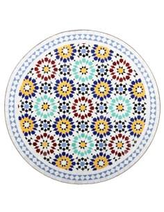 Mosaik Tischplatte ø80cm Lisu weiss/bunt