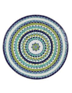Mosaik Tischplatte ø80cm Hiawa blau/weiss/türkis/grün