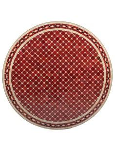 Mosaik Tischplatte ø100cm Renak rot/natur/schwarz