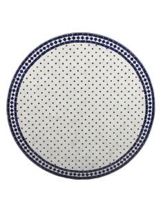 Mosaik Tischplatte ø100cm Issma weiss/blau