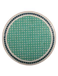 Mosaik Tischplatte ø100cm Fero türkis/weiss/dunkelblau