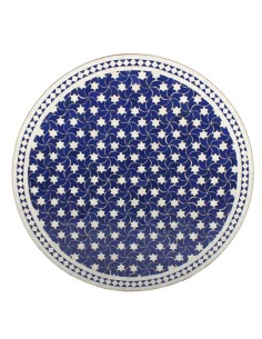 Mosaik Tischplatte ø100cm Maar blau/weiss Sterne