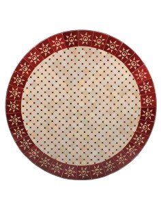 Mosaik Tischplatte ø100cm Sumil rot/natur Sonne