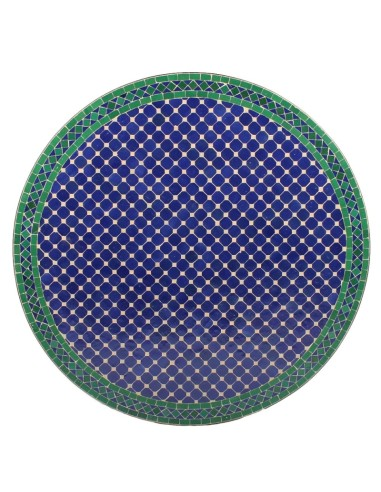 Mosaik Tischplatte ø120cm Fassia blau/grün/natur