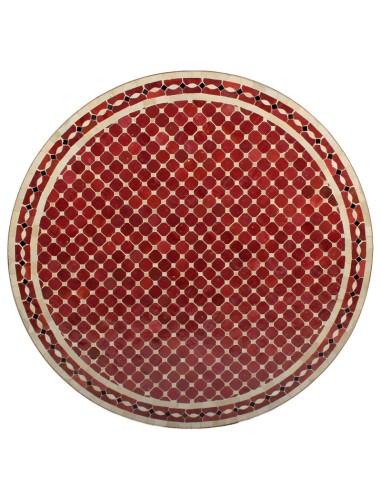Mosaik Tischplatte ø120cm Renak rot/natur/schwarz
