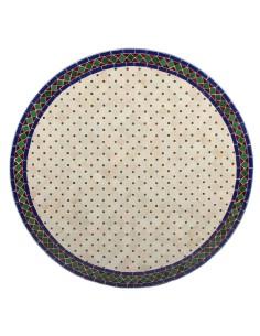 Mosaik Tischplatte ø120cm Jamal natur/blau/grün/rot