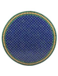 Mosaik Tischplatte ø120cm Fareo dunkelblau/grün/gelb