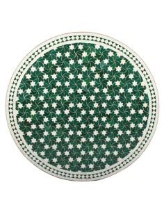 Mosaik Tischplatte ø120cm Maar grün/weiss Sterne