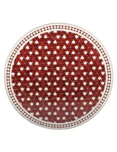 Mosaik Tischplatte ø120cm Maar rot/weiss Sterne
