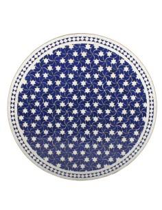 Mosaik Tischplatte ø120cm Maar blau/weiss Sterne