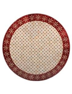 Mosaik Tischplatte ø120cm Sumil rot/natur Sonne